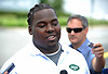 Steve McLendon, New York Jets defensive lineman, speaks with the media on the day players reported to training camp at the Atlantic Health Jets Training Center in Florham Park, NJ on Friday, July 28, 2017.