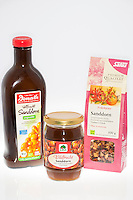 Sanddorn-Produkte, Produkte aus Sanddornfrüchten, Marmelade, Saft, Früchtetee, Tee, Sanddorn, Sand-Dorn, Küsten-Sanddorn, Frucht, Früchte, Hippophae rhamnoides, Products from buckthorn fruits, jam, juice, fruit tea, tea, Sea Buckthorn, Argousier, Saule épineux