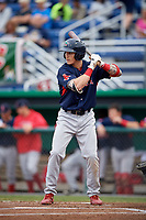 Lowell Spinners second baseman Jarren Duran (44) at bat during game against the Batavia Muckdogs on July 14, 2018 at Dwyer Stadium in Batavia, New York.  Lowell defeated Batavia 8-4.  (Mike Janes/Four Seam Images)