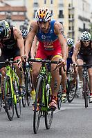 Kevin Tarek Vinuelas of Spain during the 2017 Madrid ITU Triathlon World Cup in Madrid, May 28, 2017. Spain.. (ALTERPHOTOS/Rodrigo Jimenez) /NortePhoto.com