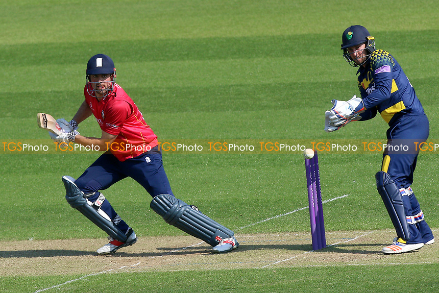 Alastair Cook in batting action for Essex as Chris Cooke looks on from behind the stumps during Glamorgan vs Essex Eagles, Royal London One-Day Cup Cricket at the SSE SWALEC Stadium on 7th May 2017