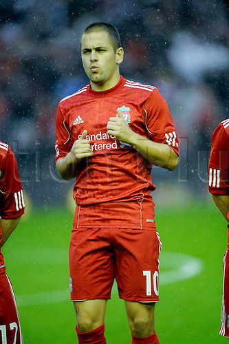 19.08.2010 Liverpool v Trabzonspor Europa League..Joe Cole warms up before the game