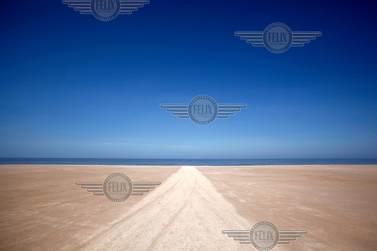 A road leading to the Bolivia Mar, a strip of beach that is being loaned to Bolivia by Peru, for 99 years near Ilo. Bolivia lost what is now northern Chile in a war over nitrates leaving Bolivia without access to the ocean.