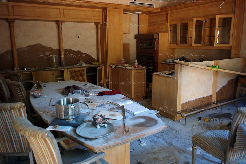 Tripoli, Libya, August 26, 2011.Khaddafi personal quarters in the Bab Aziziya  compound: personal kitchen..
