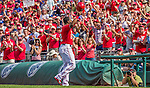 28 September 2014: Washington Nationals outfielder Denard Span waves his helmet, thanking the fans, after hitting his team record setting 184th hit of the season during play against the Miami Marlins at Nationals Park in Washington, DC. The Nationals shut out the Marlins 1-0, caping the season with the first Nationals no-hitter in modern times. The win also notched a 96 win season for the Nats: the best record in the National League. Mandatory Credit: Ed Wolfstein Photo *** RAW (NEF) Image File Available ***
