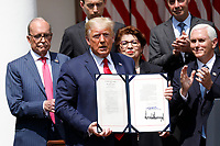 United States President Donald J. Trump holds H.R. 7010 - PPP Flexibility Act of 2020 after signing it in the Rose Garden of the White House in Washington, DC on June 5, 2020. Pictured from left to right: Director of the National Economic Council Larry Kudlow; Tyler Goodspeed, member of Council of Economic Advisers; the president; Jovita Carranza, administrator, US Small Business Administration (SBA); Tomas Philipson, Chairman of the Council of Economic Advisers; and US Vice President Mike Pence.<br /> Credit: Yuri Gripas / Pool via CNP/AdMedia