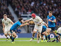 Twickenham, United Kingdom.   James HASKELL, hand off as he charges towards the line during the Six nations Rugby International, England vs Italy at the   RFU Stadium, Twickenham, England, <br /> <br /> Sunday  26/02/2017<br /> <br /> [Mandatory Credit; Peter Spurrier/Intersport-images]