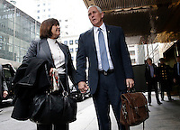 United States Vice President-elect Mike Pence holds hands with wife Karen Pence as he speaks to reporters outside of Trump Tower on December 5, 2016 in New York City. U.S. President-elect Donald Trump is still holding meetings upstairs at Trump Tower as he continues to fill in key positions in his new administration. Photo Credit: John Angelillo/CNP/AdMedia