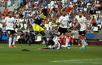 Valencia, Spain. Thursday 19 September 2013<br /> Pictured: Wilfried Bony of Swansea (2nd L) scoring his opening goal.<br /> Re: UEFA Europa League game against Valencia C.F v Swansea City FC, at the Estadio Mestalla, Spain,