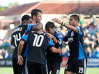 San Jose Earthquakes celebrate Arturo Alvarez (10) goal. The San Jose Earthquakes tied the Columbus Crew 2-2 at Buck Shaw Stadium in Santa Clara, California on June 2nd, 2010.