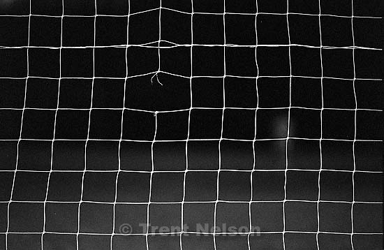 Soccer net with rip.<br />