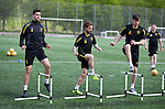 16.05.2018 Livingston FC training and presser: Shaun Byrne, Keaghan Jacobs and Declan Gallagher