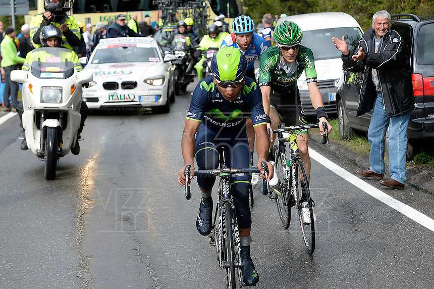 ITALIA - 27-05-2014. Nairo Quintana, ciclista colombiano del equipo Movistar en la etapa 16 Ponte di Legno y Val Martello sobre 139 kilómetros, y se ha apuntado la victoria en la cima de Val Martello en la versión 97 del Giro de Italia / Nairo Quintana, Colombian cyclist Movistar Team in the stage 16 Ponte di Legno and Val Martello about 139 kilometers, and has registered the win on top of Val Martello in version 97 of the Giro d'Italia.  VizzorImage/ Fabio Ferrari / LaPresse………VizzorImage PROVIDES THE ACCESS TO THIS PHOTOGRAPH ONLY AS A PRESS AND EDITORIAL SERVICE AND NOT IS THE OWNER OF COPYRIGHT; ANOTHER USE HAVE ADDITIONAL PERMITS AND IS  REPONSABILITY OF THE END USER