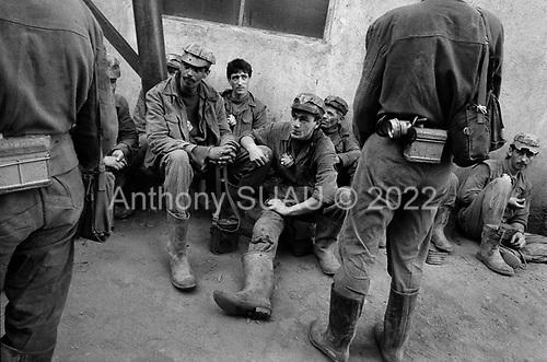 Vulcan, Transylvania<br /> Romania<br /> May 6, 1992<br /> <br /> Coal miners