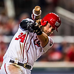 6 October 2017: Washington Nationals outfielder Bryce Harper takes a warmup swing on deck during during the first game of the NLDS against the Chicago Cubs at Nationals Park in Washington, DC. The Cubs shut out the Nationals 3-0 to take a 1-0 lead in their best of five Postseason series. Mandatory Credit: Ed Wolfstein Photo *** RAW (NEF) Image File Available ***