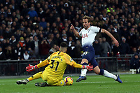 Harry Kane of Tottenham Hotspur is denied by Ederson of Manchester City during Tottenham Hotspur vs Manchester City, Premier League Football at Wembley Stadium on 29th October 2018
