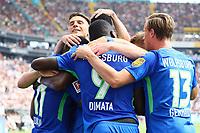 celebrate the goal, Torjubel zum 0:1 von Daniel Divadi (VfL Wolfsburg) - 26.08.2017: Eintracht Frankfurt vs. VfL Wolfsburg, Commerzbank Arena, 2. Spieltag Bundesliga