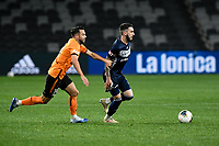 29th July 2020; Bankwest Stadium, Parramatta, New South Wales, Australia; A League Football, Melbourne Victory versus Brisbane Roar; Storm Roux of Melbourne Victory is held back by Brad Inman of Brisbane Roar