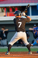 Rangel Ravelo #7 of the Bristol White Sox at bat against the Burlington Royals at Burlington Athletic Park on July 9, 2011 in Burlington, North Carolina.  The Royals defeated the White Sox 3-2.   (Brian Westerholt / Four Seam Images)