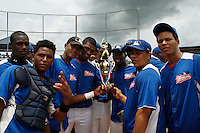 Baseball players attend the last game of the tournament in Boca Chica August 8, 2011 the tournament called Torneo Supremo which aims to maximize the ability of Major League Baseball organizations to scout in the Dominican Republic. El Torneo Supremo will consist of four teams playing one game per week in addition to a mid-tournament All-Star event, as well as championship and consolation games. Tournament participants will also be provided in-classroom education opportunities. August  2011. ViewPress/ ZZ