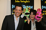John Tartaglia & Linda Dano & Dorsel & Bubbles at the opening night of John Tartaglia's Imaginocean, a new family undersea musical adventure on March 31, 2010 at New World Stages, New York City, New York. John Tartaglia's ImaginOcean is an interactive family show - a magical, musical undersea adventure for kids of all ages. Tank, Bubbles, and Dorsel are three best friends who just happen to be fish, and they're about to set out on a remarkable journey of discovery. And it all starts with a treasure map. As they swim off in search of clues, they'll sing, they'll dance, and they'll make new friends -- including everyone in the audience. Ultimately, they discover the greatest treasure of all -- friendship. Jam-packed with original music ranging from swing to R&B to Big Band, John Tartaglia's ImaginOcean is a blast rom the first big splash to the last wave goodbye. (Photo by Sue Coflin/Max Photos)