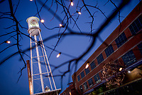 The Lucky Strike water tower glows with Christmas lights at the American Tobacco Campus in downtown Durham, NC.