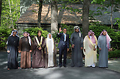 United States President Barack Obama delivers remarks alongside delegation leaders following the Gulf Cooperation Council-U.S. summit at Camp David on May 14, 2015. Obama was joined by, from left to right,  Abu Dhabi crown prince Sheik Mohammed bin Zayed Al Nahyan; Bahrain Crown Prince Prince Salman bin Hamad Al-Khalif; Deputy Prime Minister of Oman, Sayyid Fahad Bin Mahmood Al Said; Kuwait's Emir Sheik Sabah Al-Ahmad Al-Jaber Al-Sabah; Qatar's Emir Sheik Tamim bin Hamad Al-Thani; Saudi Arabia Crown Prince Mohammed bin Nayef; and Secretary General of the Gulf Cooperation Council, Abdul Latif Bin Rashid Al Zayani of Bahrain.<br /> Credit: Kevin Dietsch / Pool via CNP