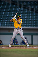AZL Athletics second baseman Christopher Quintin (18) at bat during an Arizona League game against the AZL Cubs 1 at Sloan Park on June 28, 2018 in Mesa, Arizona. The AZL Athletics defeated the AZL Cubs 1 5-4. (Zachary Lucy/Four Seam Images)