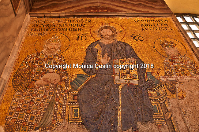 The 11th century Empress Zoe mosaic in the Hagia Sophia, on the eastern wall of the southern gallery