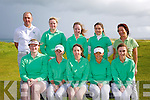 Ireland Team Front Gemma McCarthy, Rachel Taylor, Maeve Doyle, Sophie Carson, Catriona Griffin.  Back, Mike Hinerman, Coach, Molly Dowling, Sinead Sexton, Jean O'Driscoll, Gretty O'Connor, ILG Playing Notre Dame Women's Golf Team USA at Tralee Golf Club Barrow on Tuesday