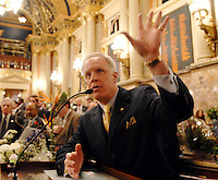 Bill DeWeese, D-Waynesburg, Minority Leader, addresses members on the floor of the Pennsylvania House of Representatives in Harrisburg, Pa., Tuesday, Jan. 2, 2007. Newly seated members of the state House of Representatives elected Dennis O'Brien as their new Speaker, replacing John Perzel. (AP Photo/Bradley C Bower)
