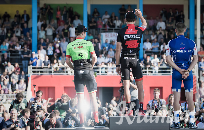 podium ceremony:<br /> 1/ Greg Van Avermaet (BEL/BMC)<br /> 2/ Zdenek Stybar (CZE/Quick Step Floors)<br /> 3/ Sebastian Langeveld (NED/Cannondale-Drapac)<br /> <br /> 115th Paris-Roubaix 2017 (1.UWT)<br /> One Day Race: Compi&egrave;gne &rsaquo; Roubaix (257km)