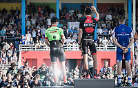 podium ceremony:<br /> 1/ Greg Van Avermaet (BEL/BMC)<br /> 2/ Zdenek Stybar (CZE/Quick Step Floors)<br /> 3/ Sebastian Langeveld (NED/Cannondale-Drapac)<br /> <br /> 115th Paris-Roubaix 2017 (1.UWT)<br /> One Day Race: Compiègne › Roubaix (257km)