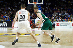 Real Madrid's Jaycee Carroll and Zalgiris' Thomas Walkup during Euroligue match between Real Madrid and Zalgiris Kaunas at Wizink Center in Madrid, Spain. April 4, 2019.  (ALTERPHOTOS/Alconada)
