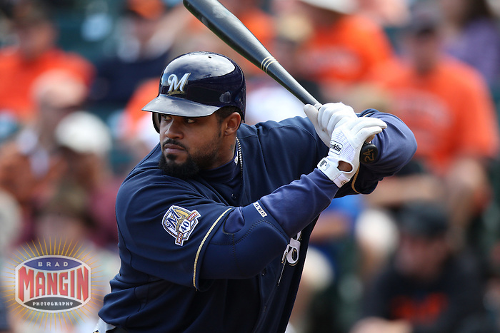 SAN FRANCISCO - SEPTEMBER 19:  Prince Fielder #28 of the Milwaukee Brewers bats against the San Francisco Giants during the game at AT&T Park on September 19, 2010 in San Francisco, California. Photo by Brad Mangin