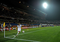 Steven Gerrard of England takes a corner kick. USA tied England 1-1 in the 2010 FIFA World Cup at Royal Bafokeng Stadium in Rustenburg, South Africa on June 12, 2010.
