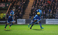Adebayo Akinfenwa of Wycombe Wanderers takes the ball  back to the centre after scoring his side's second goal during the Sky Bet League 2 match between Plymouth Argyle and Wycombe Wanderers at Home Park, Plymouth, England on 26 December 2016. Photo by Mark  Hawkins / PRiME Media Images.