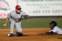 Second baseman Greg Buchanan (15) of the Salem Avalanche takes the throw as John Shelby (12) of the Winston-Salem Warthogs slides in with a stolen base at Ernie Shore Field in Winston-Salem, NC, Saturday, May 10, 2008.