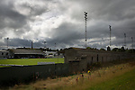 An exterior view of Borough Briggs, home to Elgin City, on the day they played SPFL2 newcomers Edinburgh City. Elgin City were a former Highland League club who were elected to the Scottish League in 2000, whereas Edinburgh City became the first club to gain promotion to the League by winning the Lowland League title and subsequent play-off matches in 2015-16. This match, Edinburgh City's first away Scottish League match since 1949, ended in a 3-0 defeat, watched by a crowd of 610.