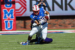 Southern Methodist Mustangs wide receiver Reggie Roberson Jr. (8) in action during the game between the East Caroline Pirates  and the SMU Mustangs at the Gerald J. Ford Stadium in Fort Worth, Texas.