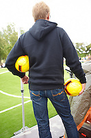 Designer Johan Ferner Strom waiting for play off during the inauguration of the &quot;Puckelball field&quot; - The World's first.<br />