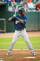 Troy Stokes (5) of the Helena Brewers at bat against the Ogden Raptors in Pioneer League action at Lindquist Field on August 19, 2015 in Ogden, Utah.Ogden defeated Helena 4-2.  (Stephen Smith/Four Seam Images)