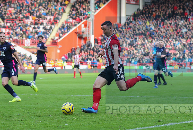 Enda Stevens of Sheffield Utd  in action during the Premier League match at Bramall Lane, Sheffield. Picture date: 9th February 2020. Picture credit should read: Chloe Hudson/Sportimage