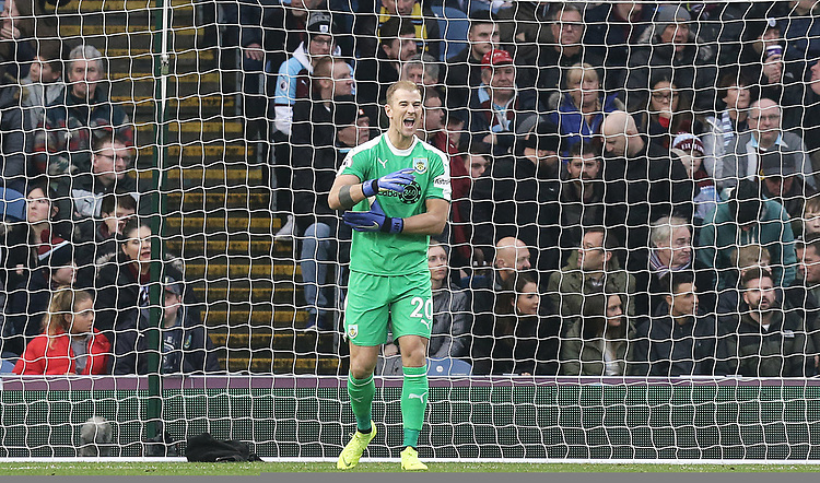Burnley's Joe Hart reacts after Everton's Yerry Mina scored the opening goal<br /> <br /> Photographer Rich Linley/CameraSport<br /> <br /> The Premier League - Burnley v Everton - Wednesday 26th December 2018 - Turf Moor - Burnley<br /> <br /> World Copyright © 2018 CameraSport. All rights reserved. 43 Linden Ave. Countesthorpe. Leicester. England. LE8 5PG - Tel: +44 (0) 116 277 4147 - admin@camerasport.com - www.camerasport.com