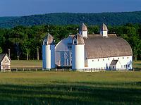 Sleeping Bear Dunes National Lakeshore, MI<br /> Historic Day farm barn and silos near Glen Haven