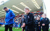 Lincoln City academy players walk around the pitch at half time<br /> <br /> Photographer Chris Vaughan/CameraSport<br /> <br /> The EFL Sky Bet League Two - Lincoln City v Cheltenham Town - Saturday 13th April 2019 - Sincil Bank - Lincoln<br /> <br /> World Copyright © 2019 CameraSport. All rights reserved. 43 Linden Ave. Countesthorpe. Leicester. England. LE8 5PG - Tel: +44 (0) 116 277 4147 - admin@camerasport.com - www.camerasport.com