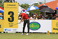 Haotong Li (CHN) in action on the 3rd tee during Round 1 of the Maybank Championship at the Saujana Golf and Country Club in Kuala Lumpur on Thursday 1st February 2018.<br /> Picture:  Thos Caffrey / www.golffile.ie<br /> <br /> All photo usage must carry mandatory copyright credit (© Golffile | Thos Caffrey)