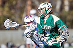 Los Angeles, CA 02/06/16 - Troy Brown (Cal Poly #4) and Dustin Marinelli (Loyola Marymount #14)in action during the Cal Poly SLO Mustangs vs Loyola Marymount Lions MCLA Men's Lacrosse game.  Cal Poly defeated LMU 24-5