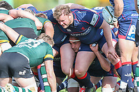 A scrum during the Greene King IPA Championship match between London Scottish Football Club and Nottingham Rugby at Richmond Athletic Ground, Richmond, United Kingdom on 15 April 2017. Photo by David Horn.