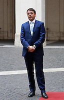 Il Presidente del Consiglio Matteo Renzi si prepara ad accogliere il Presidente del Consiglio Europeo a Palazzo Chigi, Roma, 18 giugno 2014.<br /> Italian Premier Matteo Renzi prepares to welcome European Council President at Chigi Palace, Rome, 18 June 2014.<br /> UPDATE IMAGES PRESS/Isabella Bonotto